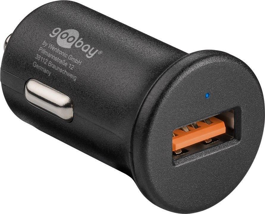 Details zu goobay Quick Charge QC3.0 USB Autoschnellladegerät 3,0A schwarz KFZ LKW 12V 24V